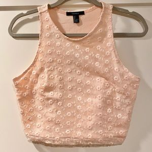 Coral Floral Stiched Crop Top Tank -NWT-